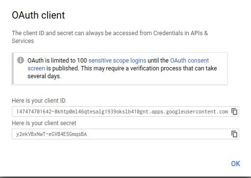 OAuth consent screen